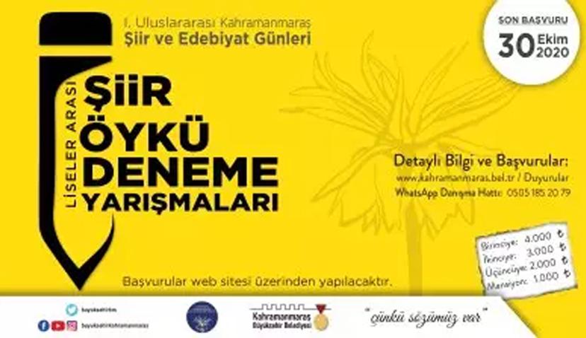 1. Uluslararası Kahramanmaraş Şiir ve Edebiyat Günleri Yarışmaları Başlıyor